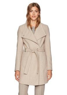 Calvin Klein Women's Asymmetrical Wool Tie Coat  S
