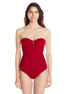Calvin Klein Women's Bandeau Maillot One Piece Swimsuit