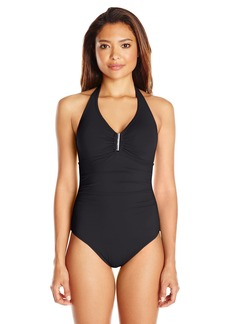 Calvin Klein Women's Bar Halter One Piece Swimsuit with Removable Soft Cups