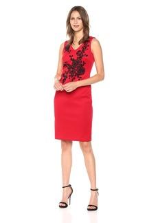 Calvin Klein Women's Beaded Sleeveless Sheath Dress red/Black