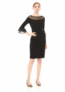 ee79b8ee Calvin Klein Women's Bell Sheath with Illusion Neck and Sleeve Dress