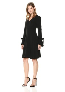 Calvin Klein Women's Bell Sleeve Dress with Bow