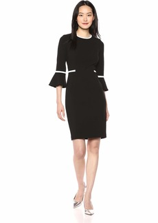 Calvin Klein Women's Bell Sleeve Dress with Contrast Piping