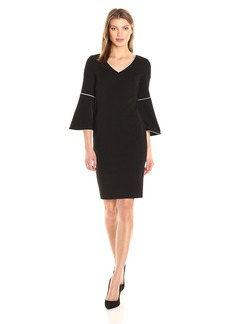 Calvin Klein Women's Bell Sleeve Dress with Piping