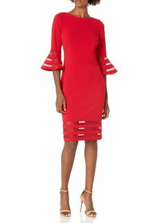 Calvin Klein womens Bell Sleeve Sheath with Sheer Inserts Dress Red