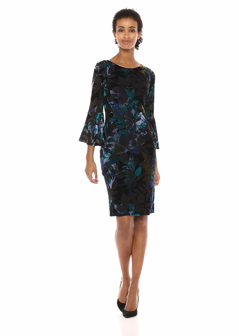 Calvin Klein Women's Bell Sleeve Velvet Sheath CD7V133E