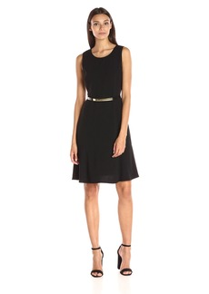 Calvin Klein Women's Sleeveless Belted a-Line Dress