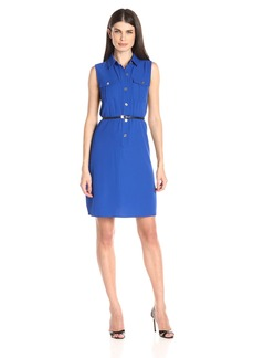 Calvin Klein Women's Belted Dress with Shirt Collar