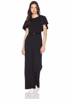 Calvin Klein Women's Belted Jumpsuit with Caplet Sleeve