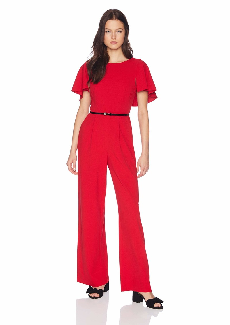 Calvin Klein Women's Belted Jumpsuit with Caplet Sleeve red