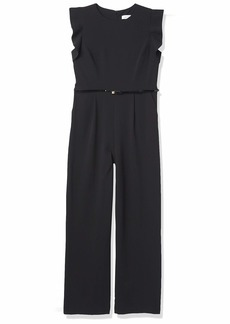 Calvin Klein Women's Belted Jumpsuit with Flutter Sleeves
