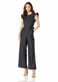 Calvin Klein Women's Belted Jumpsuit with Flutter Sleeves Blue Chambray with Self