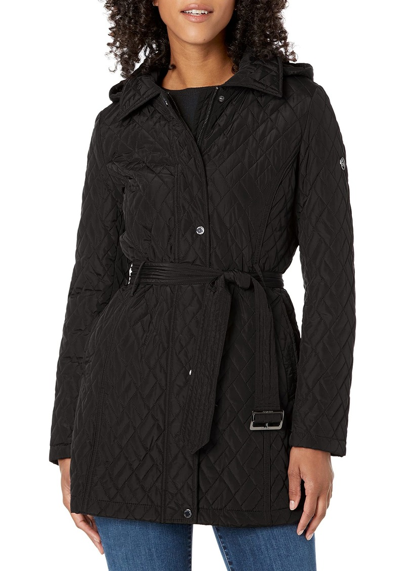 Calvin Klein Women's Belted Quilt with Hood and Flare Skirt