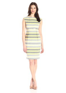 Calvin Klein Women's Belted Striped Sheath Dress