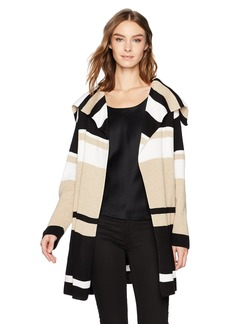 Calvin Klein Women's Blocked Sweater Jacket Htr Latte/Wntr WT Strpe L