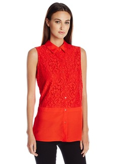 Calvin Klein Women's Blouse W/ Mosaic Lace