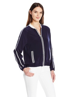 Calvin Klein Women's Bomber Jacket With Ribbed Collar  M