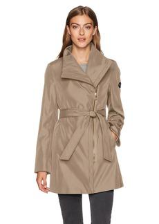 Calvin Klein Women's Bonded Water Resistant Asymmetrical Rain Coat  L