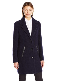 Calvin Klein Women's Boucle 3 Wool Coat With Button Closure  L