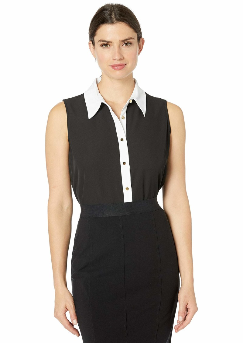 Calvin Klein Women's Button Front Collared Sleeveless Top  S