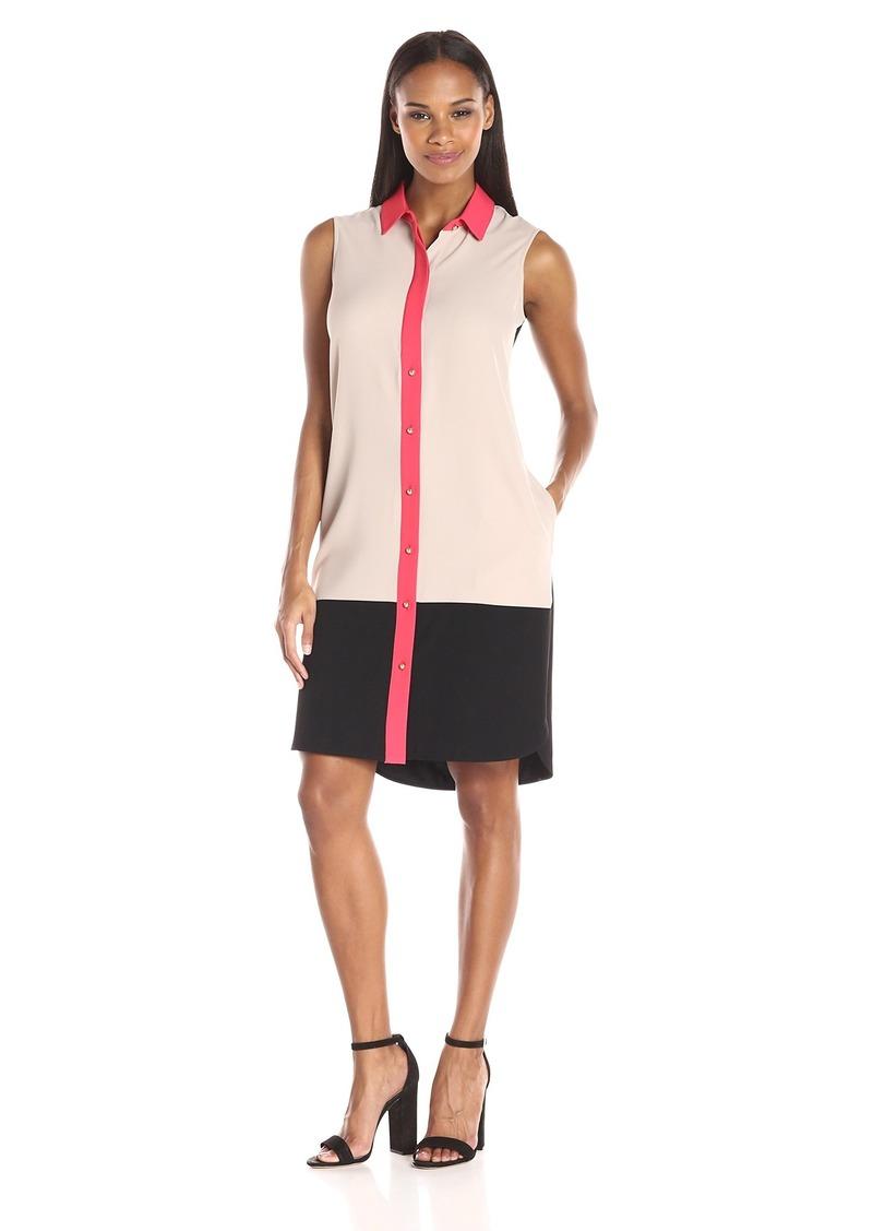 Calvin Klein Women's Button-Front Color-Block Dress