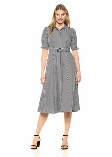 Calvin Klein Women's Button Front Shirt Dress with Self Belt