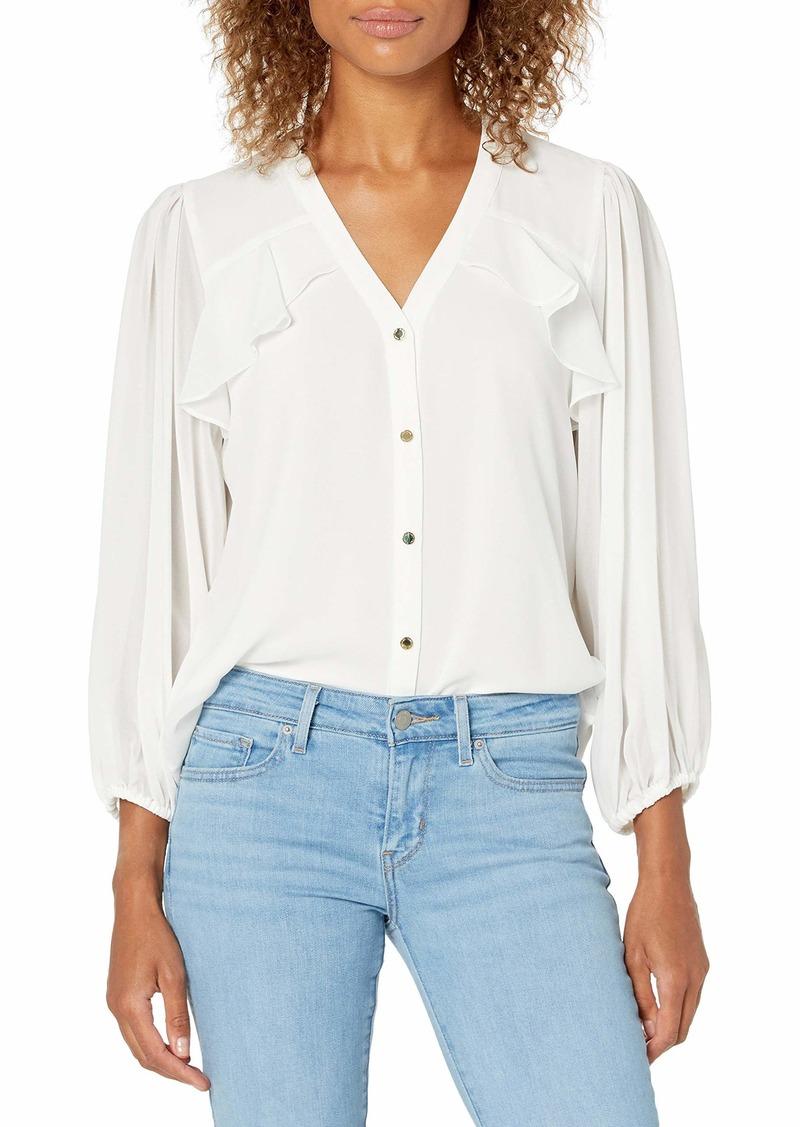 Calvin Klein Women's Button Up Long Sleeve Blouse with Ruffles