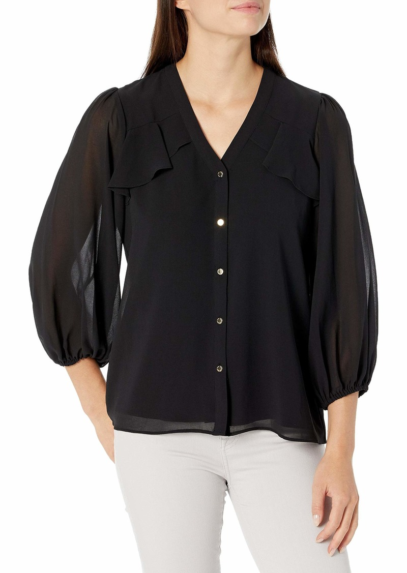 Calvin Klein Women's Button Up Long Sleeve Blouse with Ruffles