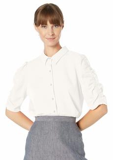 Calvin Klein Women's Button UP Puff Sleeve Blouse