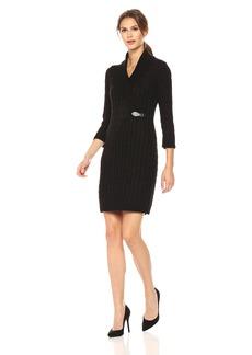 Calvin Klein Women's Waffle Knit Turtleneck Sweater Dress  M