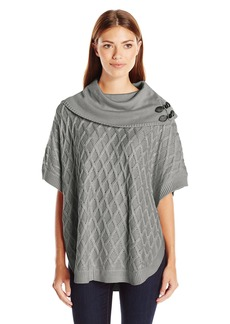 Calvin Klein Women's Cabled Cape with Buckles  X-Large
