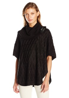 Calvin Klein Women's Cabled Cape with Buckles  Small/