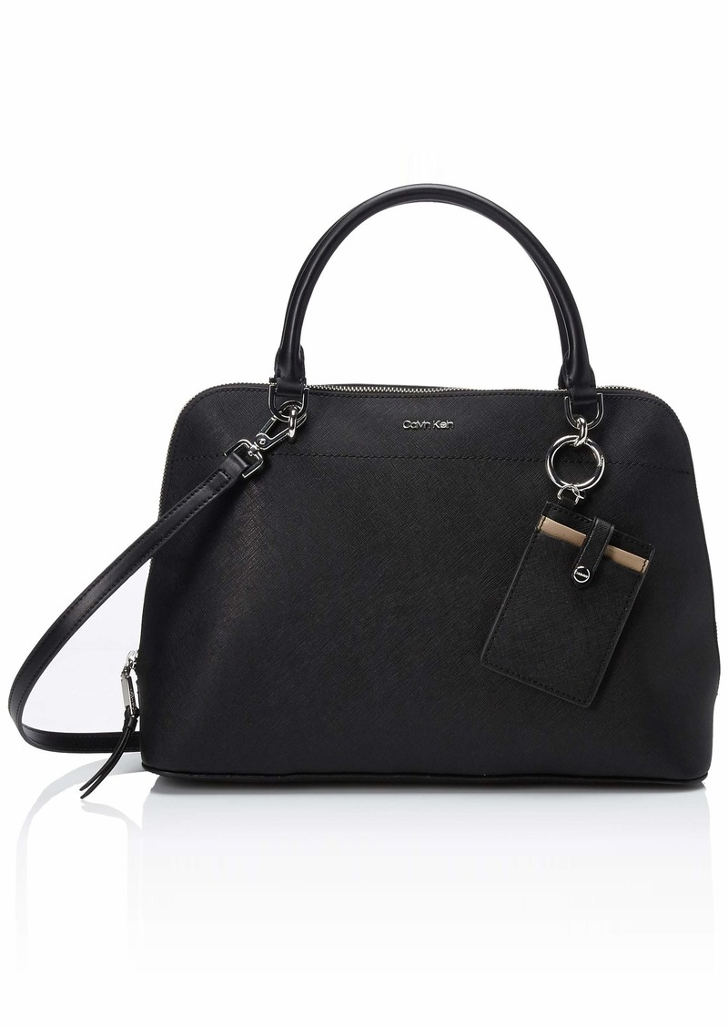 Calvin Klein womens Calvin Klein Susan Saffiano Leather Dome Satchel with Card Case Hanger black/silver