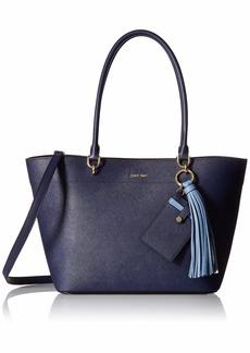 Calvin Klein womens Calvin Klein Susan Saffiano Leather Tote with Card Case Hanger black plum