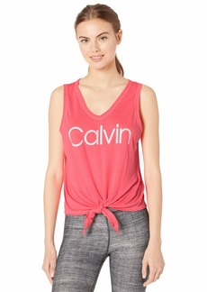 Calvin Klein Women's Calvin Logo Dropped Armhole Tie Front Tank