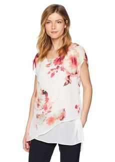 Calvin Klein Women's Cap Sleeve Asymmetrical Top in Floral Print  L