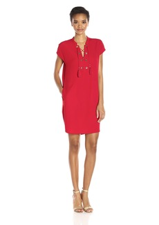 Calvin Klein Women's Cap Sleeve Cocoon Dress with Lace up Detail