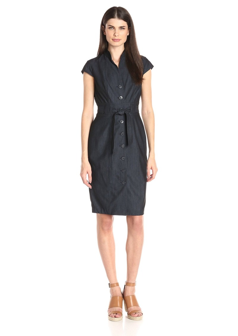 Calvin Klein Women's Cap Sleeve Denim Shirt Dress with Self Belt