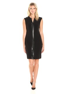 Calvin Klein Women's Cap Sleeve Dress with Faux Leather & Chain
