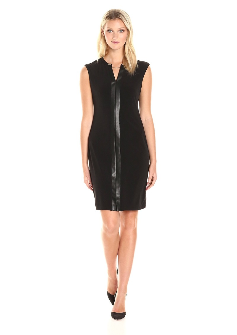 Calvin Klein Women's Cap Sleeve Dress with Faux Leather and Chain