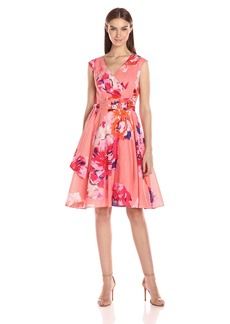 Calvin Klein Women's Cotton Faux Wrap Fit and Flare Dress