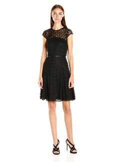 Calvin Klein Women's Cap Sleeve Fit and Flare Lace Dress
