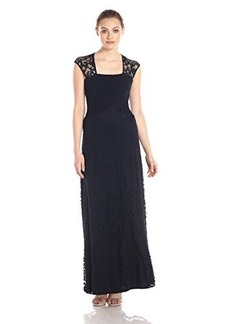 Calvin Klein Women's Cap Sleeve Gown with Lace Detail