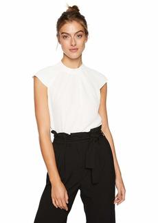 Calvin Klein Women's Cap Sleeve Pleat Front Top  L