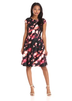 Calvin Klein Women's Cap Sleeve Printed Fit and Flare Dress