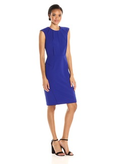 Calvin Klein Women's Cap Sleeve Round Neck Sheath Dress With Seam Details