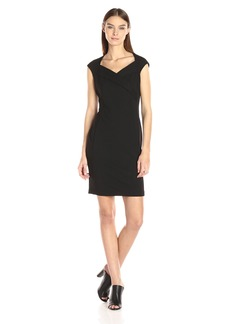 Calvin Klein Women's Cap Sleeve Sheath Dress with Draped Neckline