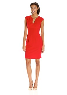 Calvin Klein Women's Cap Sleeve Sheath Dress with Netal Trim AT Neckline