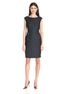 Calvin Klein Women's Cap-Sleeve Sheath Dress With Pocket Detail
