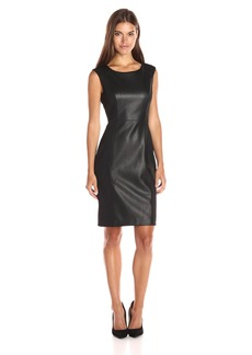 Calvin Klein Women's Cap Sleeve Sheath Dress with Pu Insert